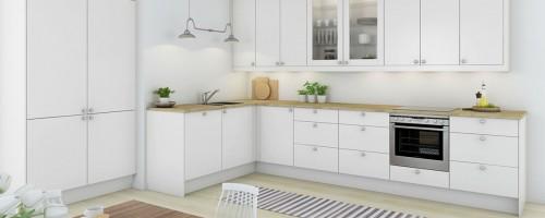 Hvit glatt kjøkkeninnnredning