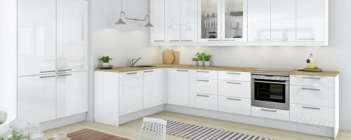 Hvit høyglans kjøkkeninnnredning