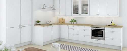 hvit krystall kjøkkeninnnredning