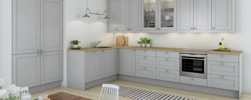Shaker grå kjøkkeninnnredning