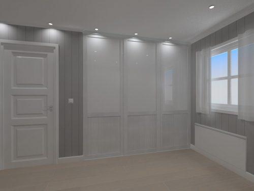 Rival 2 felt hvit strukturglass garderobe